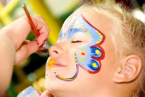 Pinturas para ninos cara cuerpo colores y fotos mariposa azul