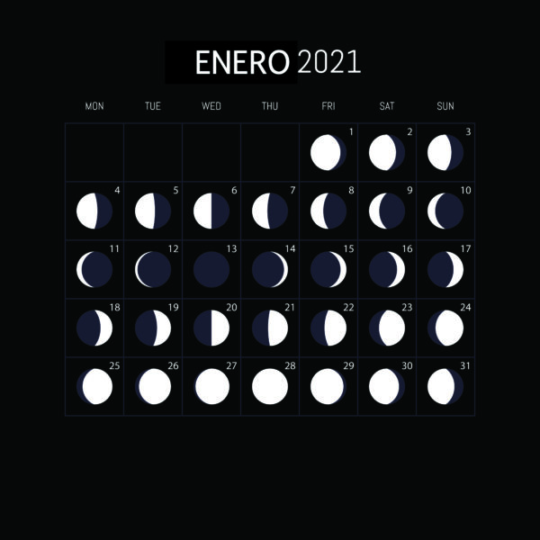 Calendario Lunar 2021-ENERO