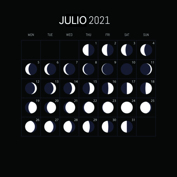 Calendario Lunar 2021-JULIO