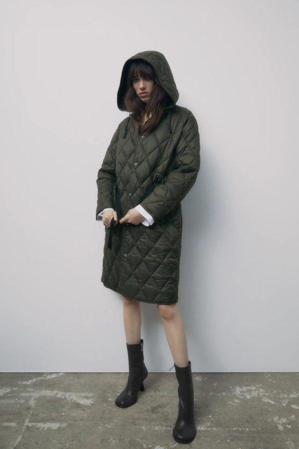 Catalogo zara premama invierno 2021 abrigo acolchado