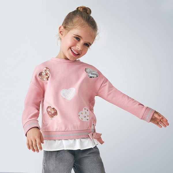 Mayoral rebajas de verano para ninos y ninas invierno 2021 moda mini sudadera rosa