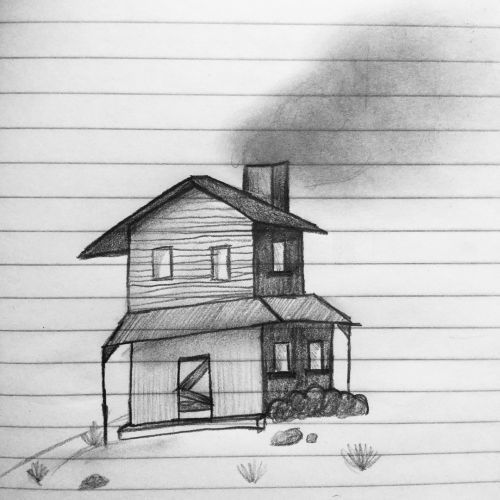 Dibujo de casa con chimenea
