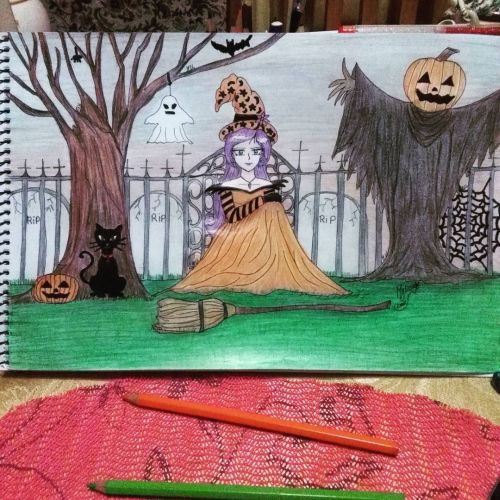Dibujo de cementerio Halloween