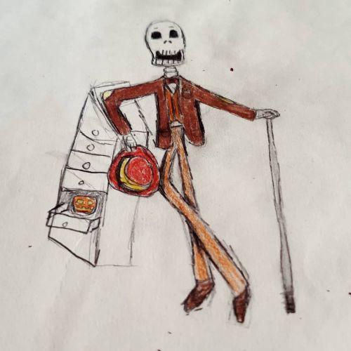 Dibujo de esqueleto vestido con sombrero y bastón
