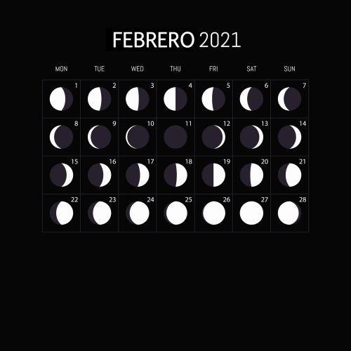 Calendario lunar de febrero 2021