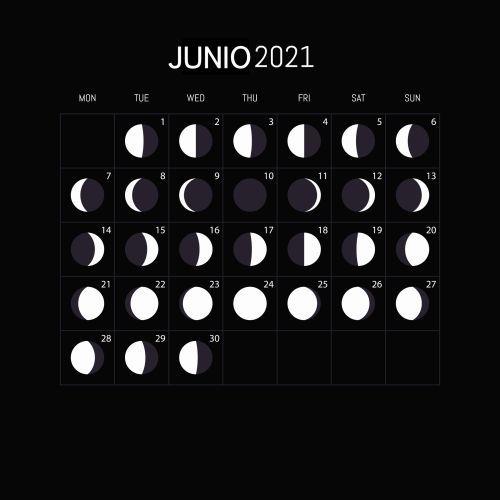 Calendario lunar de junio 2021