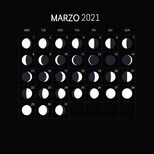 Calendario lunar de marzo 2021