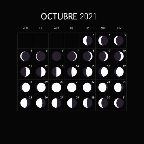 Calendario lunar octubre 2021