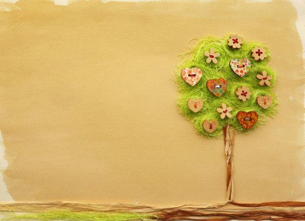 Manualidades para niños día del árbol árbol con hilos y botones