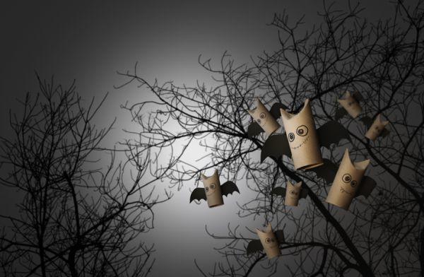 Manualidades para niños para el día del árbol murciélagos de rollos de cartón