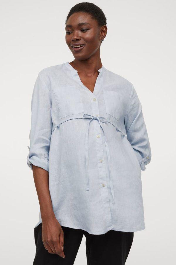 Catálogo H&M Premamá Otoño Invierno 2021 2022 blusa camiseta lino