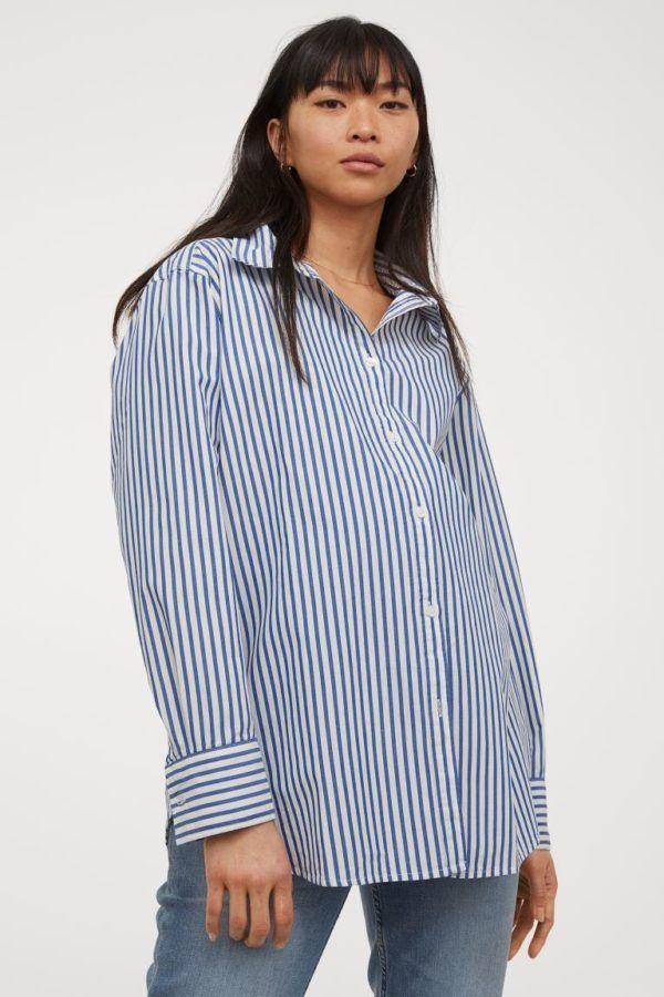 Catálogo H&M Premamá Otoño Invierno 2021 2022 blusa camiseta rayas algodon