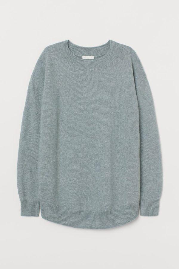 Catálogo H&M Premamá Otoño Invierno 2021 2022 jersey azul punto fino