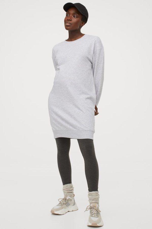 Catálogo H&M Premamá Otoño Invierno 2021 2022 vestido sudadera