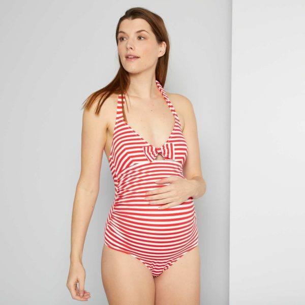 Bañadores premama donde comprar KIABI bañador rayas rojo