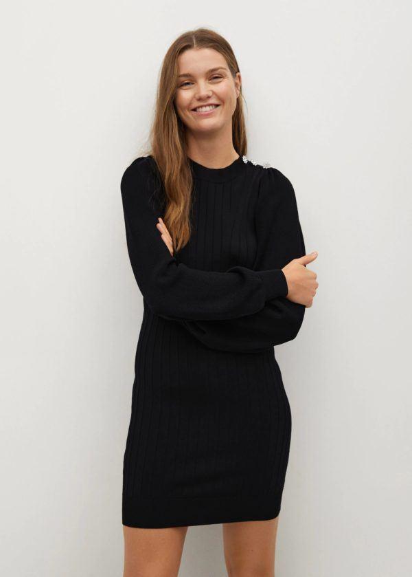 Catalogo mango premama otoño invierno 2021 2022 vestido punto negro
