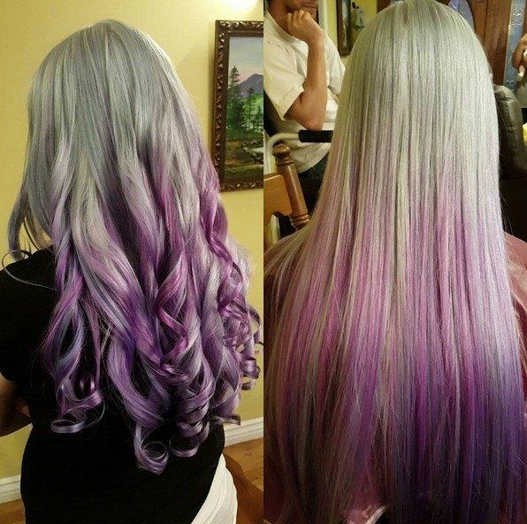 Pelo rizado y liso para el cabello largo - Ideas de ombre púrpura