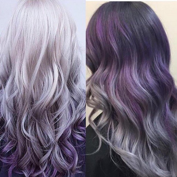 Pelo ombre de gris a morado - Peinados gruesos para pelo largo