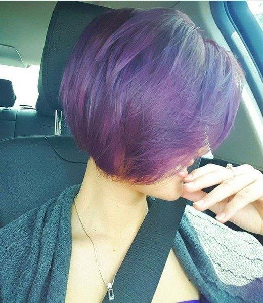 Peinado morado ombré para el pelo corto - Ideas de peinados cortos con estilo