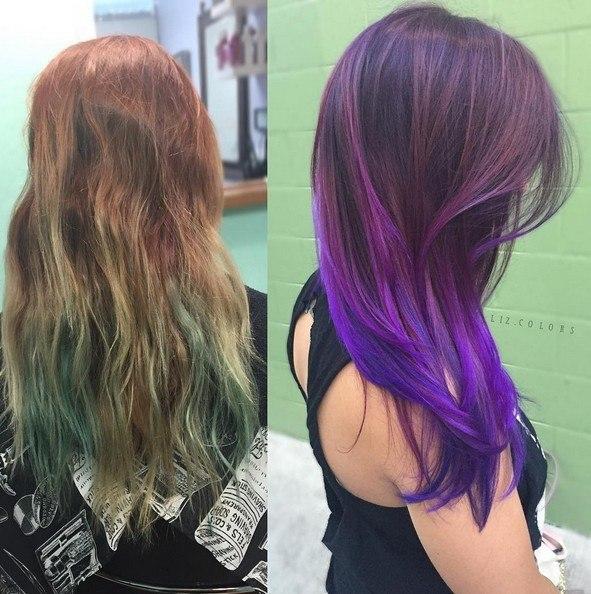 Ombre púrpura con el pelo largo y liso