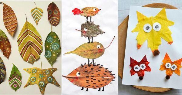 Animalitos con hojas de otoño