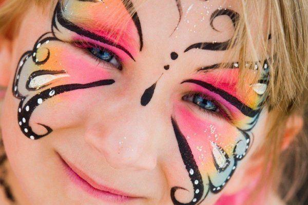 Pinturas para ninos cara cuerpo colores y fotos mariposa rosa