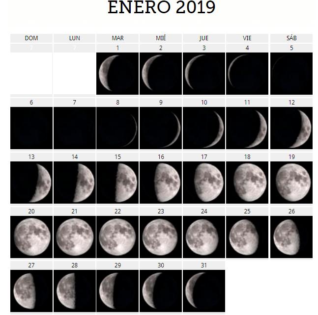 Enero 2019 calendario lunar