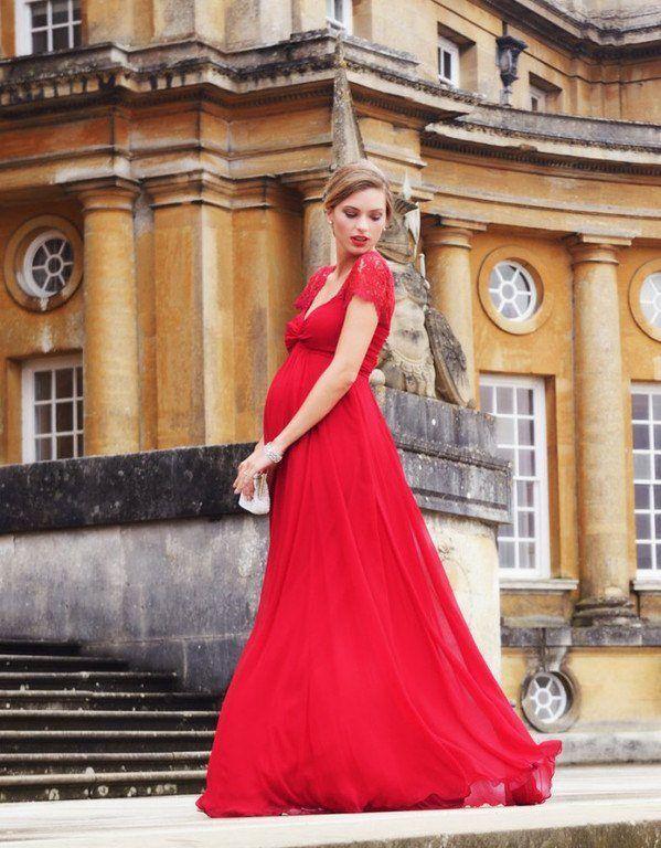 vestidos-para-embarazadas-invitadas-a-una-boda-largo-seda-encaje-rojo-seraphine