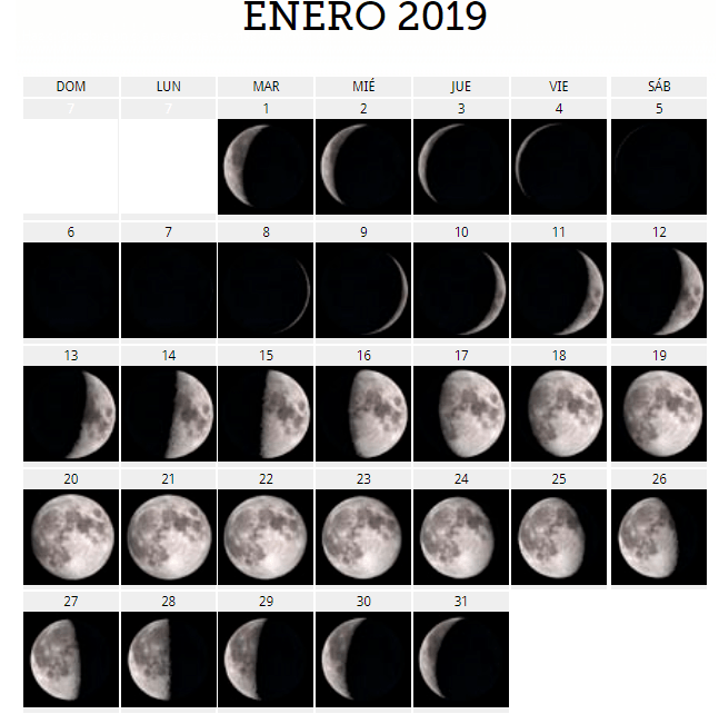 Calendario Lunar 2019 Espana.El Calendario Lunar 2019 Fases De La Luna Para Concebir Y Dar A