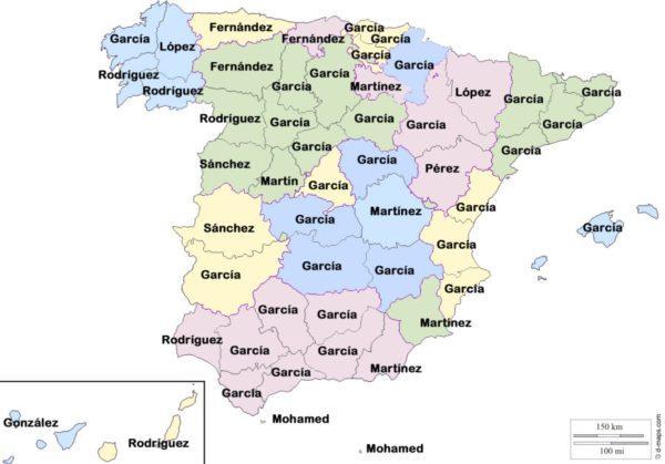 Los apellidos más populares en España en la Historia