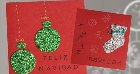 Vídeo-manualidades-con-niños-para-Navidad 2015-tarjetas-con-purpurina