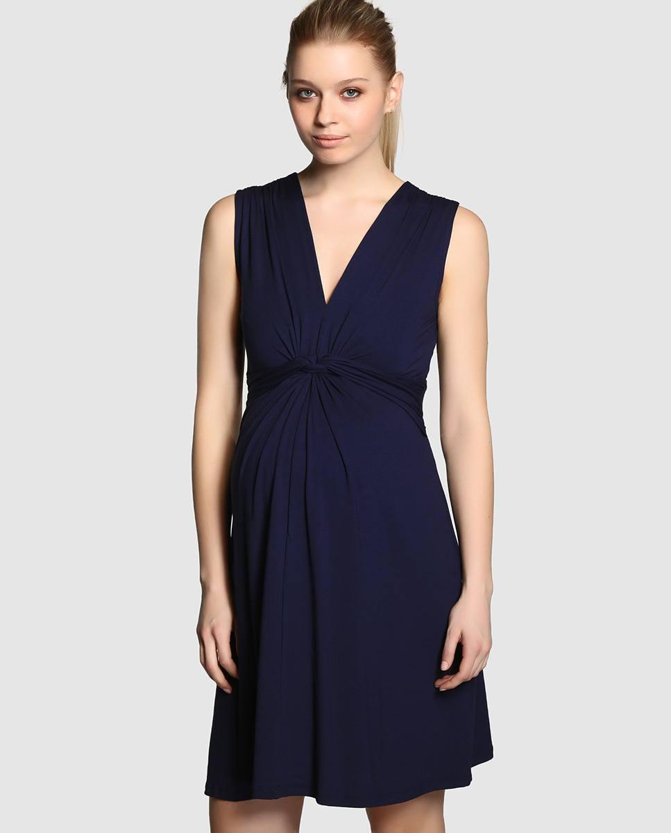 Catalogo el corte ingles premama 2015 vestido azul escote pico - Catalogo el corte ingles ...