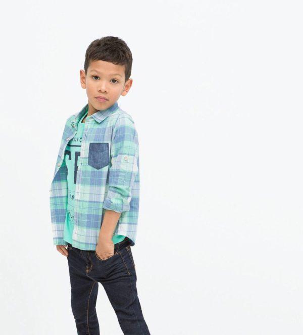 catalogo-zara-ninos-2015-moda-niños-camiseta-estampada-camisa-cuadros