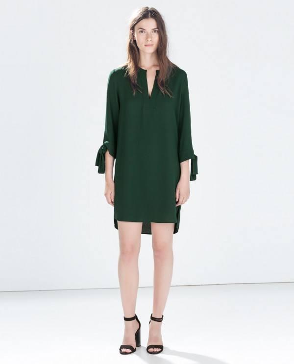 Vestido verde zara 2019