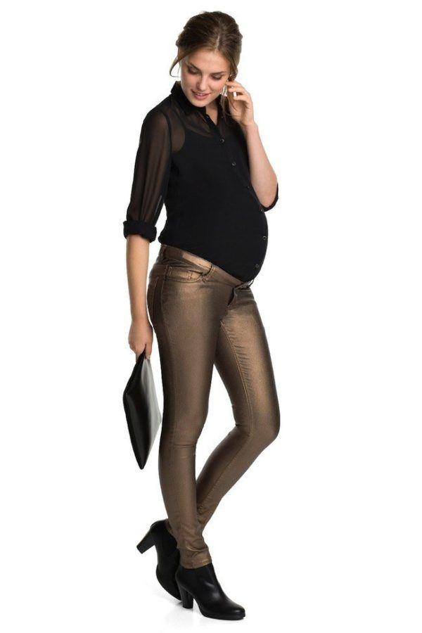 7a0f45218 moda-de-navidad-para-embarazadas-pantalones-metalizados