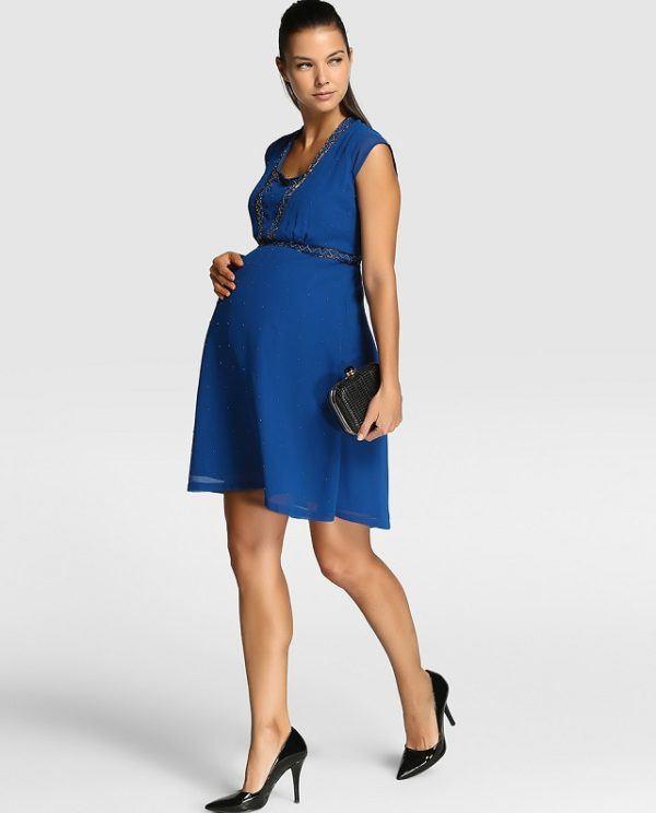 vestido azul embarazada
