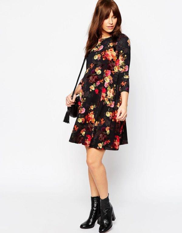 vestidos-de-fiesta-2016-moda-embarazadas-vestido-estampado-de-flores-de-asos