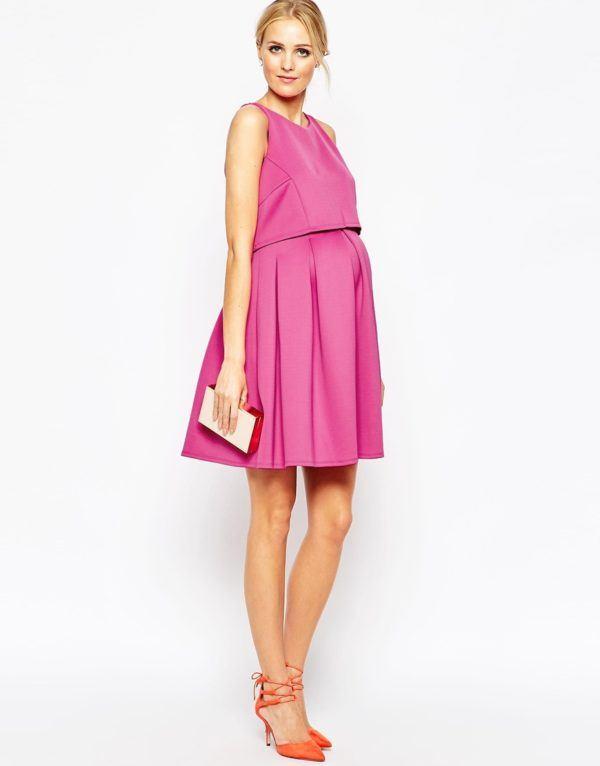 vestidos-embarazadas-2016-asos-modelo-skater-rosa
