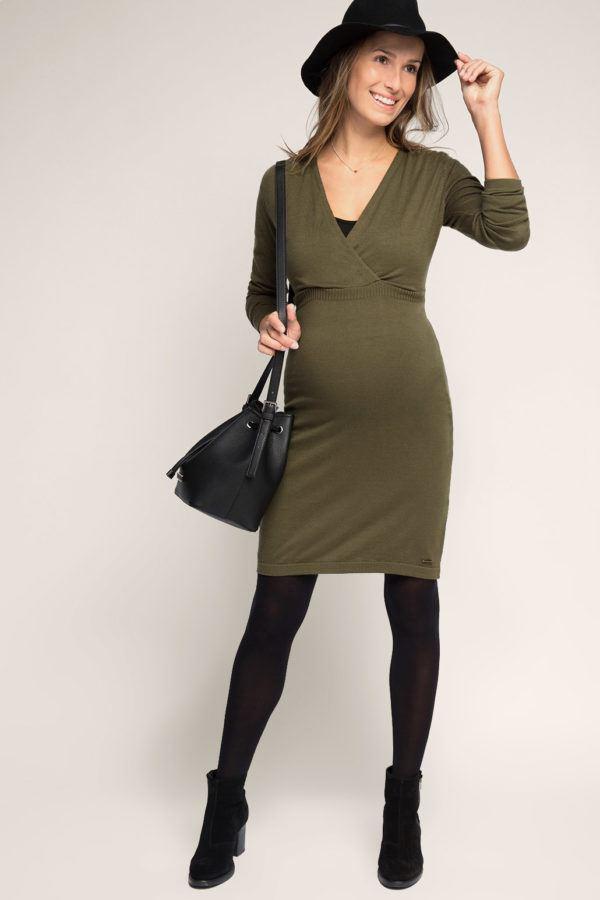 vestidos-para-embarazadas 2016-esprit-color-verde-militar