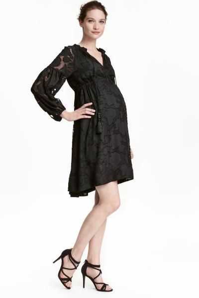 vestidos-para-embarazadas-como-invitada-de-boda-otoño-invierno-2017-encaje-negro