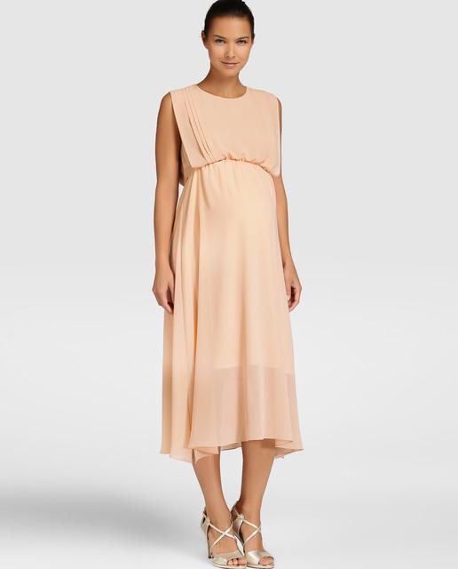 4f0217903 Largo de color salmón. vestidos-para-embarazadas-invitadas-a-una-comunion- otono-