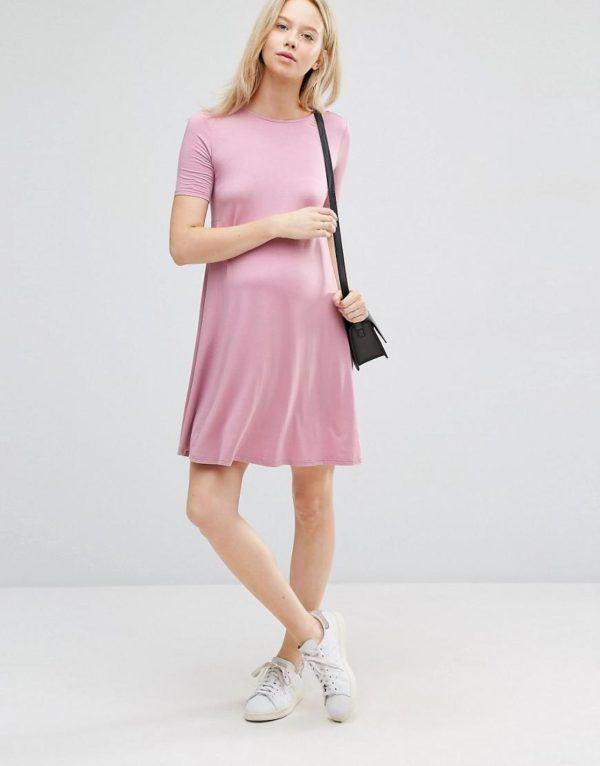 vestidos-para-embarazadas-otoño-invierno-2017-rosa-liso