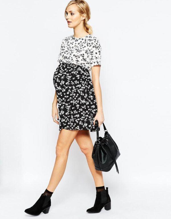 vestidos-para-embarazadas-primavera-verano-2016-modelo-flores-blanco-y-negro
